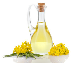 Rapeseed oil and flowers isolated over white.